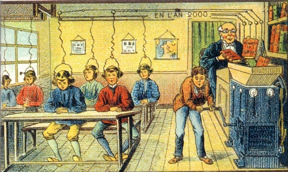 """Education in the Year 2000"" Image Source: uh, the Internet? Gosh who knows where things originally came form these days. [Okay fine--I'll Google it. Credit: Villemard, À l'École (1910).]"